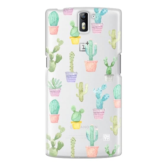 One Plus One Cases - Watercolour pastel cactus hot summer by imushstore