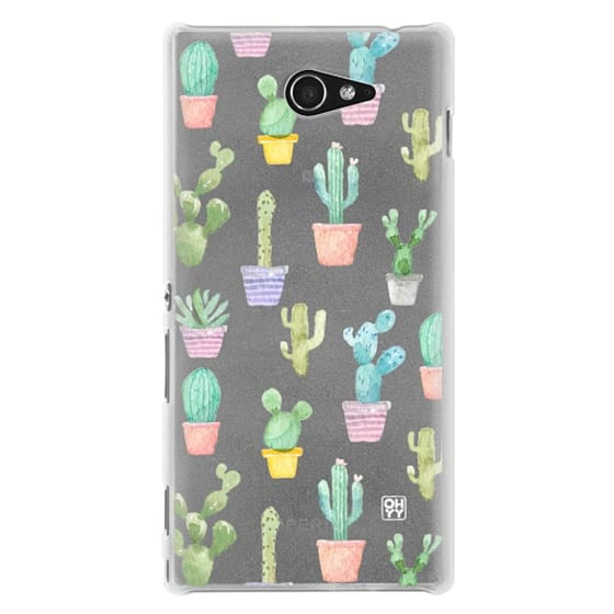 Sony M2 Cases - Watercolour pastel cactus hot summer by imushstore