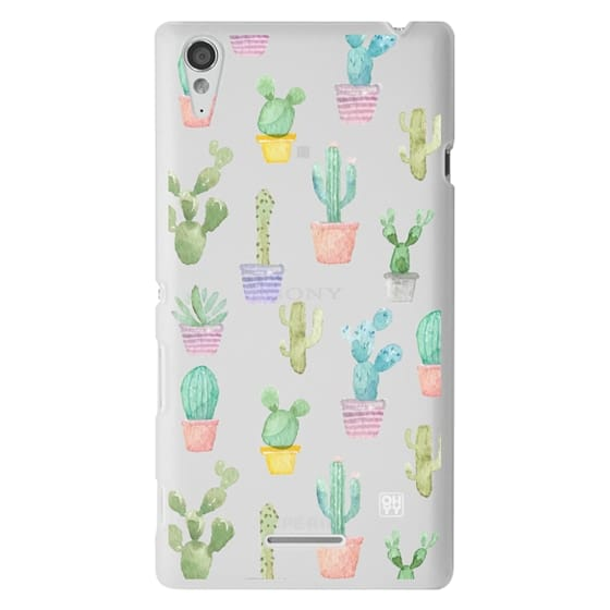 Sony T3 Cases - Watercolour pastel cactus hot summer by imushstore
