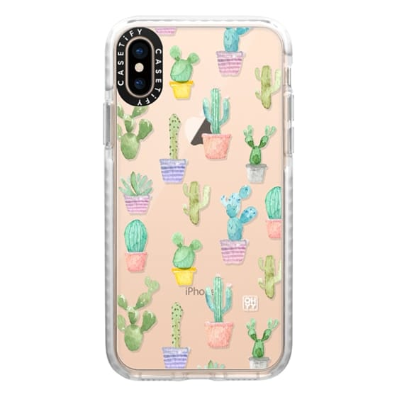 iPhone XS Cases - Watercolour pastel cactus hot summer by imushstore