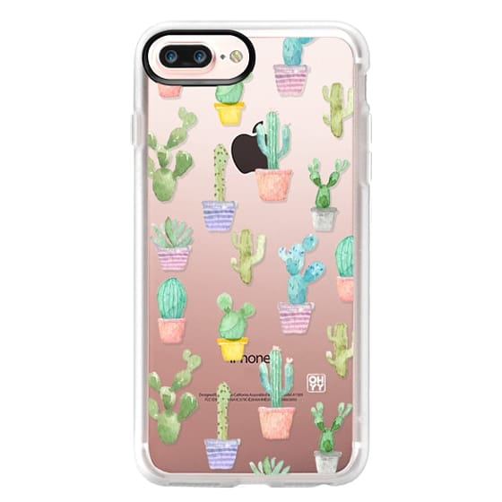 iPhone 7 Plus Cases - Watercolour pastel cactus hot summer by imushstore