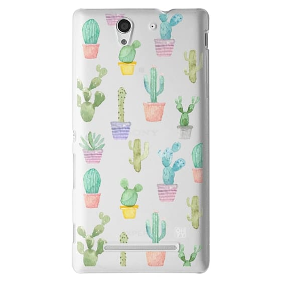 Sony C3 Cases - Watercolour pastel cactus hot summer by imushstore