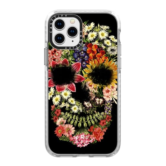 iPhone 11 Pro Cases - Floral Skull Vintage Black