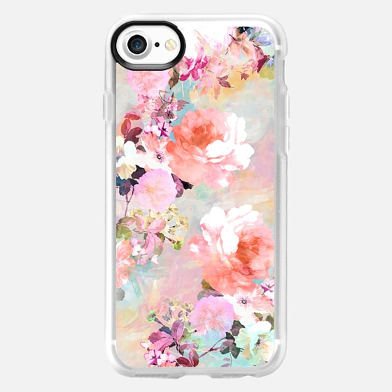 Romantic Pink Teal Pastel Chic Floral Pattern by Girly Trend - Wallet Case