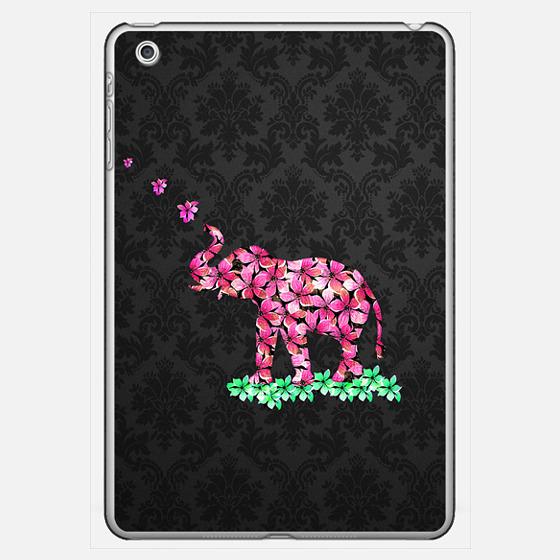 Retro Flower Elephant Pink Sakura Black Damask Ipad Mini