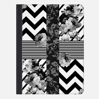 iPad Air 2 ケース Trendy Black and White Floral Lace Stripes Chevron Ipad mini