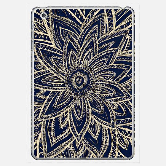 Cute Retro Gold abstract Flower Drawing on Black Ipad Mini