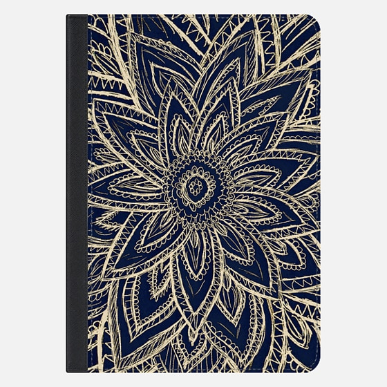 Cute Retro Gold abstract Flower Drawing on Black Ipad Mini