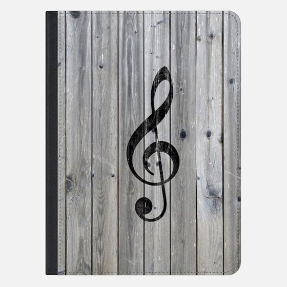 Vintage White Music Note Treble Clef Gray Wood Ipad Mini