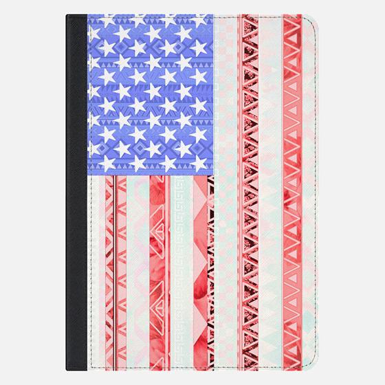 American flag USA Red Blue White Aztec Pattern Ipad Mini