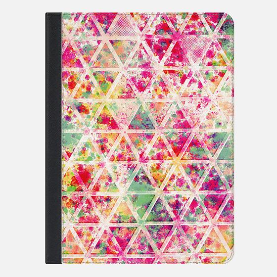 Retro Pink Rainbow Watercolor Triangles Pattern Ipad Mini