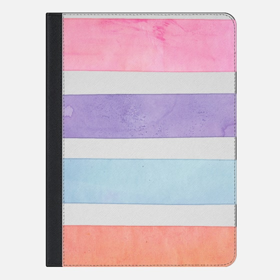 Pastel Watercolor Stripes Summer Pink Orange Teal Ipad mini