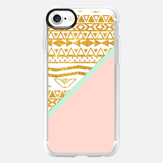 Gold Glitter Aztec Pattern Pastel Pink Color Block - Wallet Case