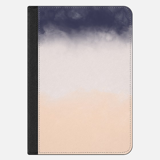 Modern Navy Blue Peach Watercolor Block Stripes Ipad