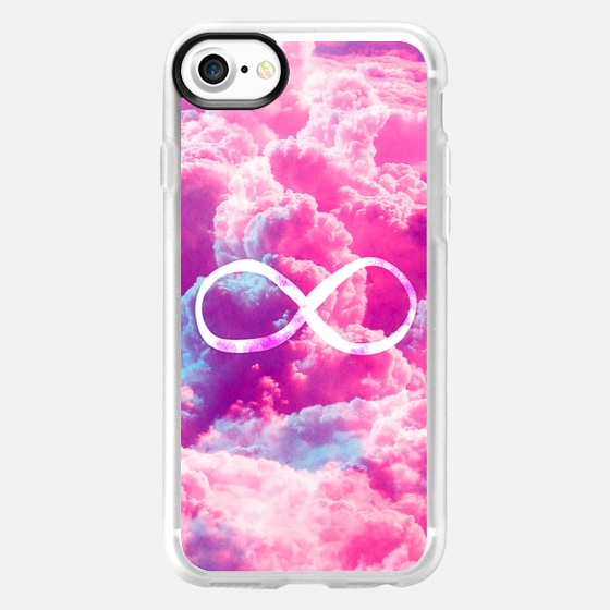 Girly Infinity Symbol Bright Pink Clouds Sky -