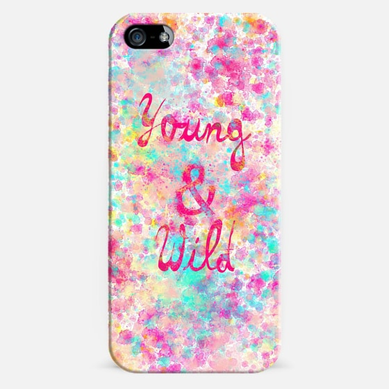Young Wild Girly neon Pink Teal Abstract Splatter Typography -