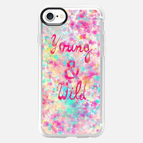 Young Wild Girly neon Pink Teal Abstract Splatter Typography - Classic Grip Case