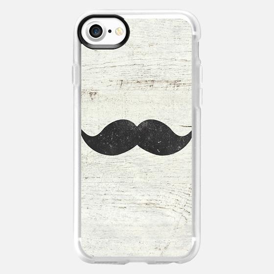 Vintage Funny Mustache White Retro Wood -