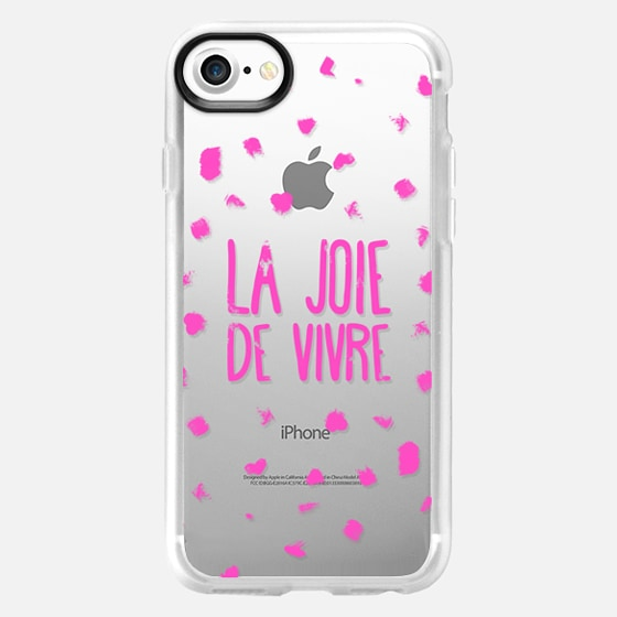 Girly neon pink French typography La joie de vivre painted polka dots - Wallet Case