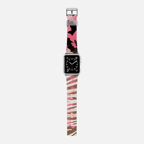 Pink brown leopard zebra watercolor pattern Apple watch -