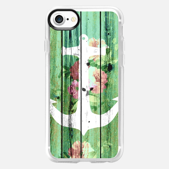 Vintage Floral Nautical Anchor Green Beach Wood by Girly Trend -