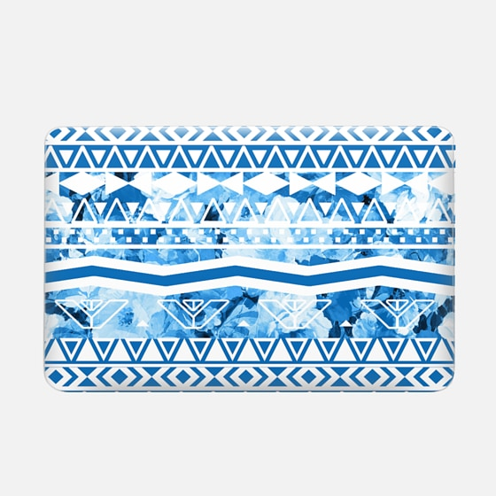 Modern Blue Trendy Floral Abstract Aztec Pattern by Girly Trend