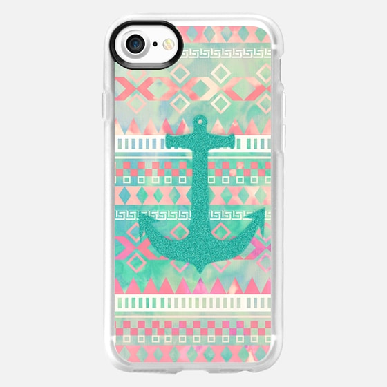 Emerald Nautical Anchor Pastel Watercolor Aztec by Girly Trend - Wallet Case