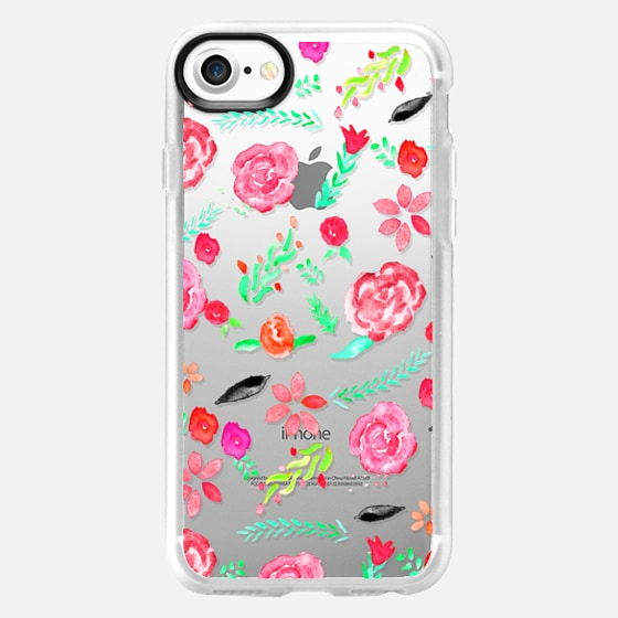Modern bright floral watercolor hand painted botanical pattern by Girly Trend - Wallet Case
