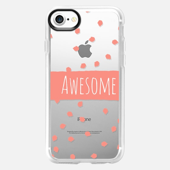 Modern coral awesome typography brushstroke polka dots stripe by Girly Trend - Wallet Case