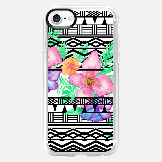 Exotic hawaiian floral watercolor black aztec by Girly Trend - Wallet Case