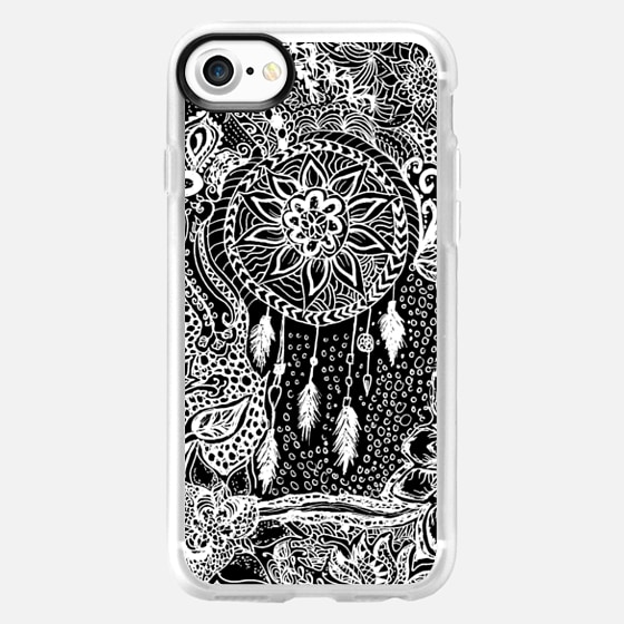 Modern black white dreamcatcher floral lace pattern  by Girly Trend - Wallet Case
