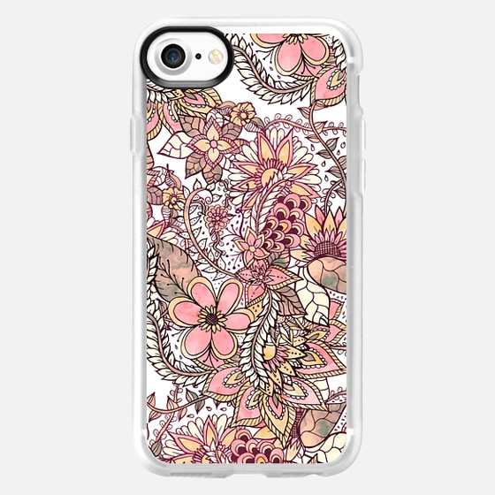 Boho chic red brown floral handdrawn pattern by Girly Trend - Wallet Case