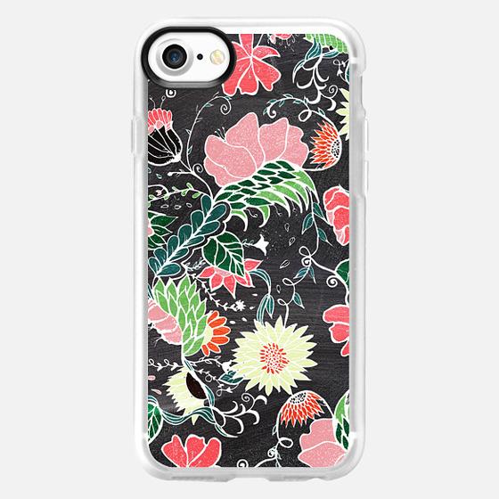 Pastel preppy hand drawn garden flowers chalkboard by Girly Trend - Wallet Case