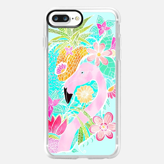 Tropical summer watercolor flamingo floral pineapple by Girly Trend -