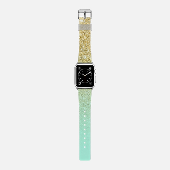 Modern luxurious gold ombre mint green block by Girly Trend -