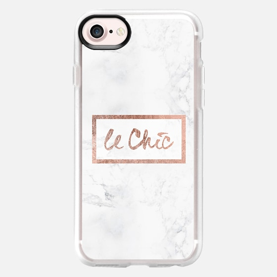 Modern stylish french le chic typography rose gold foil white marble by Girly Trend - Wallet Case