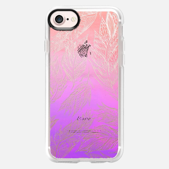 Coral pink ombre watercolor hand drawn feathers pattern - Wallet Case