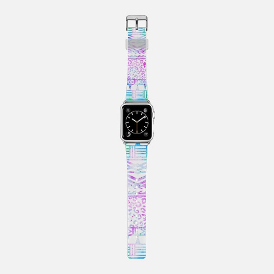 Modern pink blue watercolor hand drawn leopard aztec geometric pattern by Girly Trend -