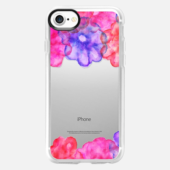 Modern pastel pink blue floral hand painted watercolor spring by Girly Trend -