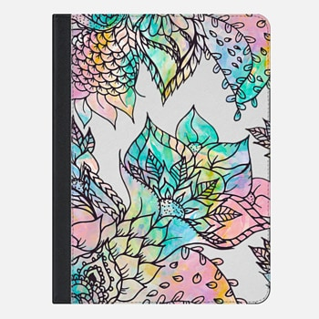 iPad Air 2 Case Modern watercolor pastel pink teal peach purple hand drawn floral pattern by Girly Trend