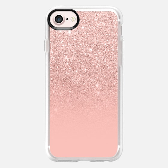 Modern peach pink pastel faux glitter ombre color block by Girly Trend - Wallet Case