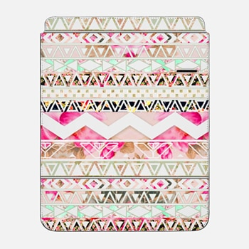 "iPad Pro 12.9"" Sleeve Pink pastel floral geometric aztec pattern by Girly Trend"