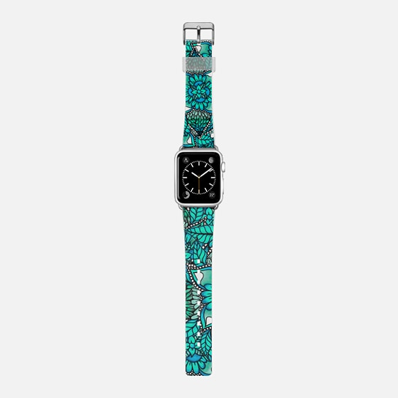 Teal ombre watercolor floral mandala pattern by Girly Trend -