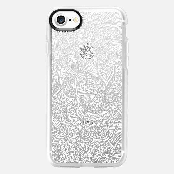 Modern white handdrawn illustration floral henna paisley mandala pattern semi transparent by Girly Trend - Wallet Case