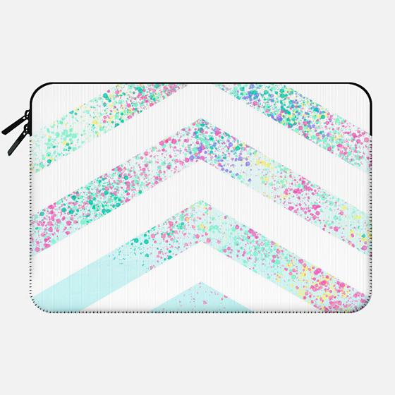 Modern pastel paint splatters teal ombre chevron pattern by Girly Trend - Macbook Sleeve