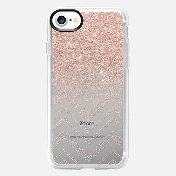 Chic elegant faux rose gold glitter ombre modern geometric chevron pattern fashion stitch by Girly Trend - Wallet Case
