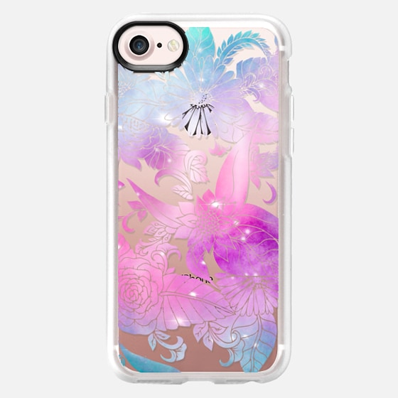 Modern pink purple watercolor floral hand drawn illustration by Girly Trend - Wallet Case