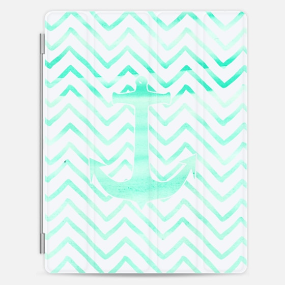 Modern turquoise watercolor nautical anchor hand drawn geometric chevron pattern by Girly Trend - Photo Cover