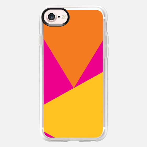 Bright summer neon pink orange yellow color block triangles by Girly Trend - Wallet Case