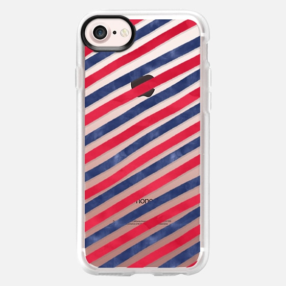 Summer traditional blue red watercolor hand drawn nautical stripes pattern by Girly Trend - Wallet Case